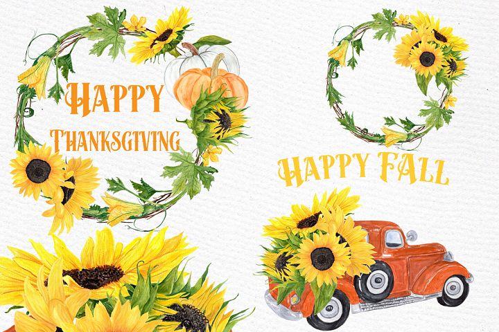 Sunflower clipart, SUNFLOWER WREATHS, Thanksgiving clipart