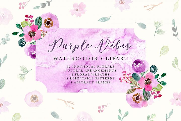 Purple Vibes - Watercolor Clipart