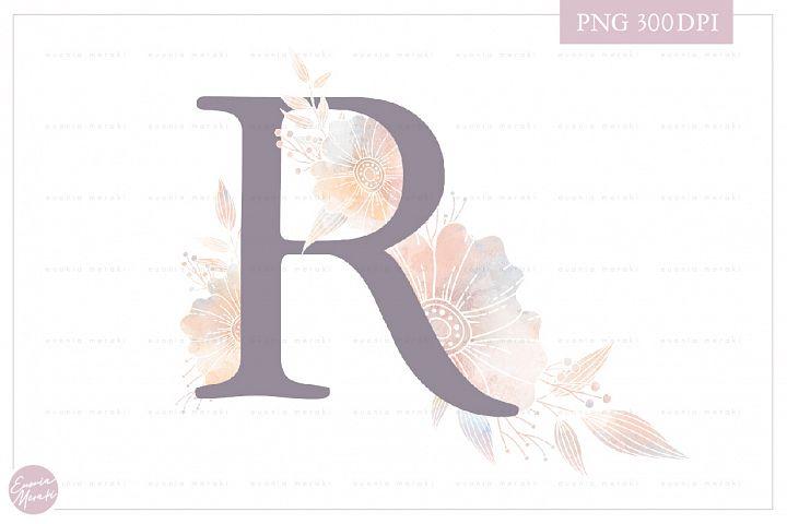 Letter R Floral MONOGRAM - elegant wedding flower initial