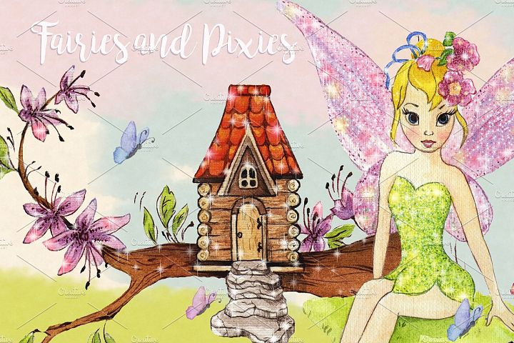 Watercolor Fairies Clipart Images by Whimseez