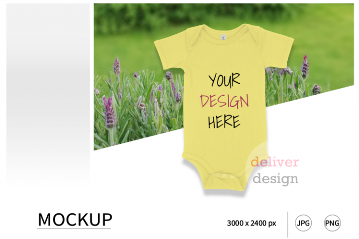 Yellow Bella Canvas 100B Mockup / Bodysuit Mockup