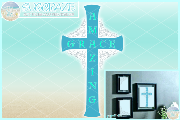 Amazing Grace Cross SVG Dxf Eps Pdf PNG