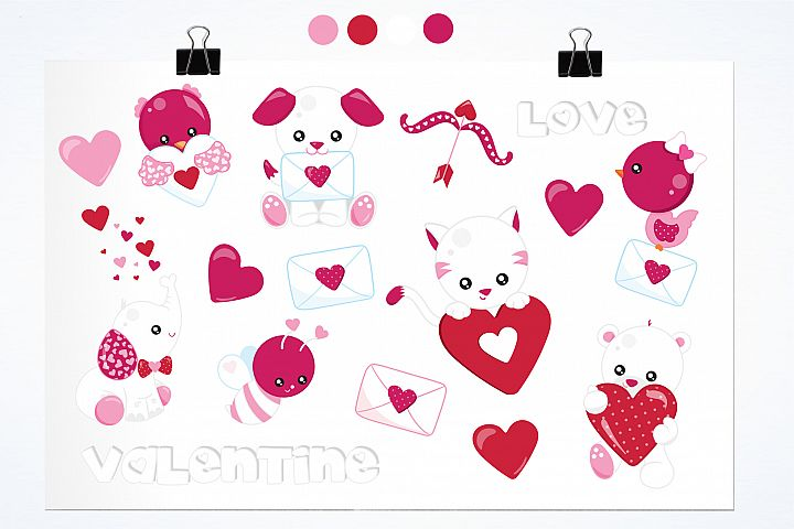 Valentine Animals graphics and illustrations - Free Design of The Week Design0