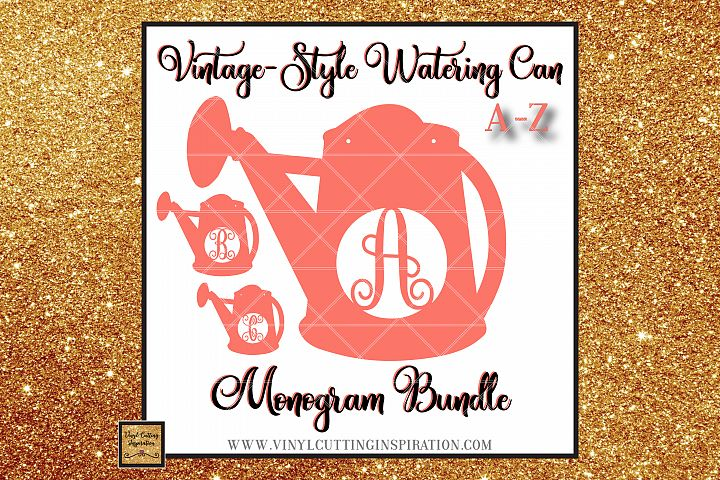 Spring SVG, Garden SVG, Vintage Watering Can Monogram Bundle