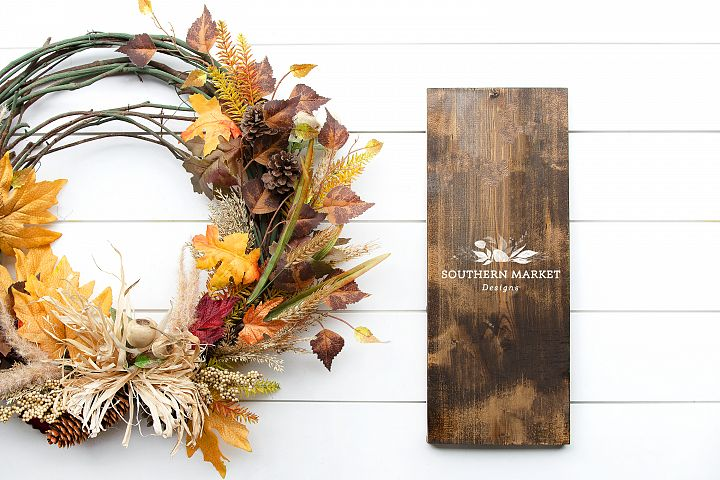 Fall Stained 8x20 Wood Sign Mock Up Stock Photo