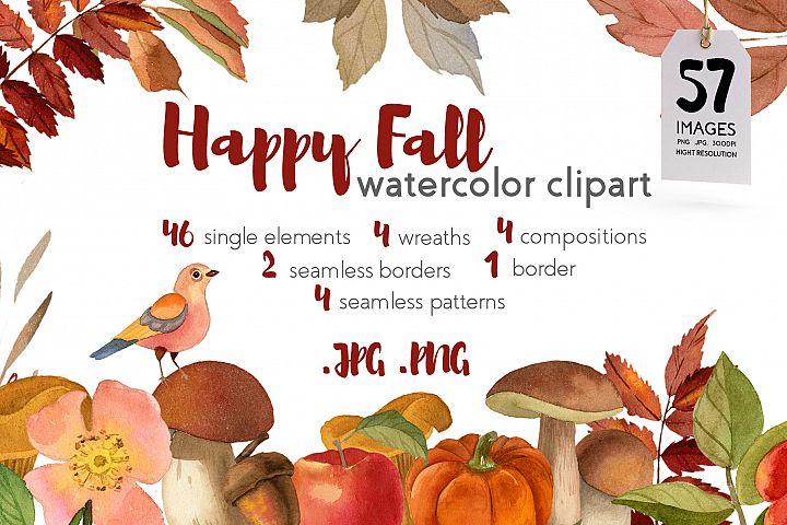 Fall Watercolor Clipart