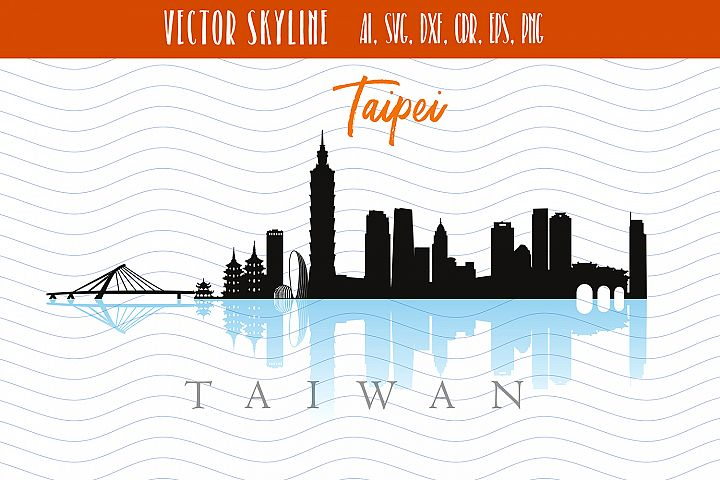 Taipei Svg Capital of Taiwan Vector Skyline