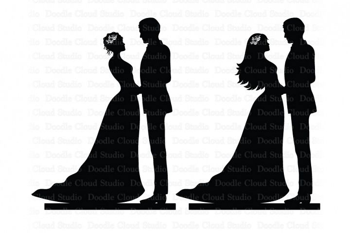 Couple Cake Topper SVG, Bride and Groom SVG, Wedding PNG.