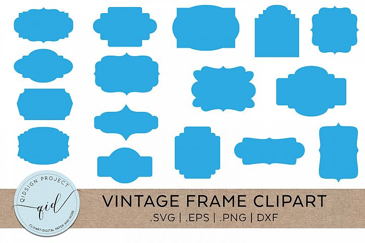 Vintage Label Frame Clipart Cutting Files SVG PNG DXF EPS