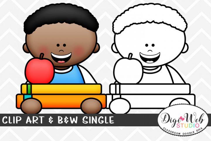 Clip Art & B&W Single - Boy w/ Books & An Apple Topper