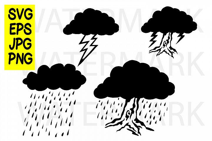 Cloud Thunder Rain and Tree - SVG EPS JPG PNG