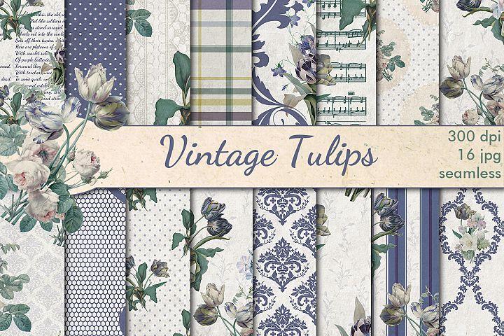 Vintage Blue Tulips seamless patterns