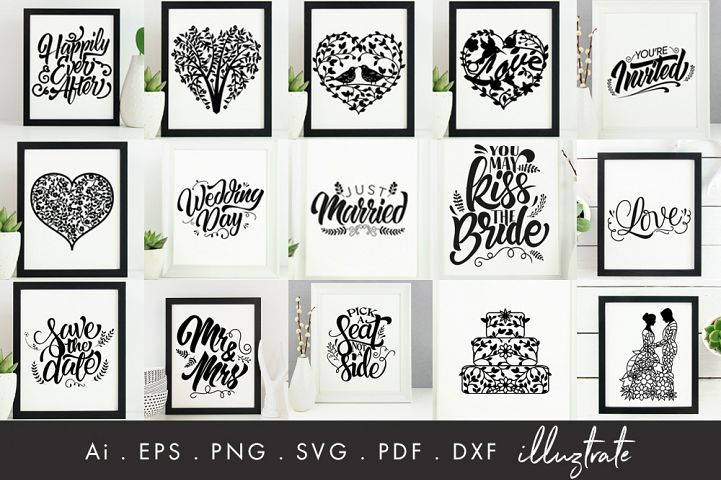 Wedding SVG Bundle - Hand Lettering - Detailed Florals SVG