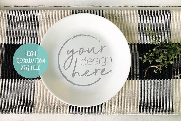 Round White Plate Mockup | Buffalo Plaid