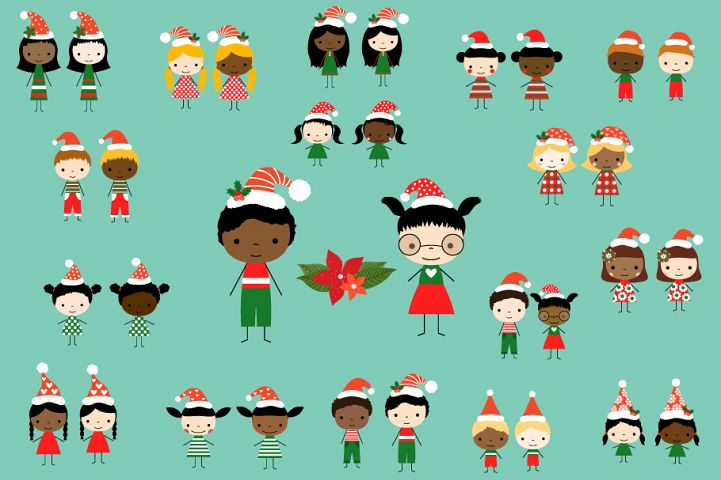 Cute Christmas Stick Figures Clipart with Santa Hats