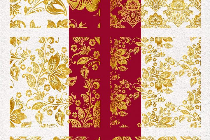 Floral gold seamless pattern. Hohloma. example image 3