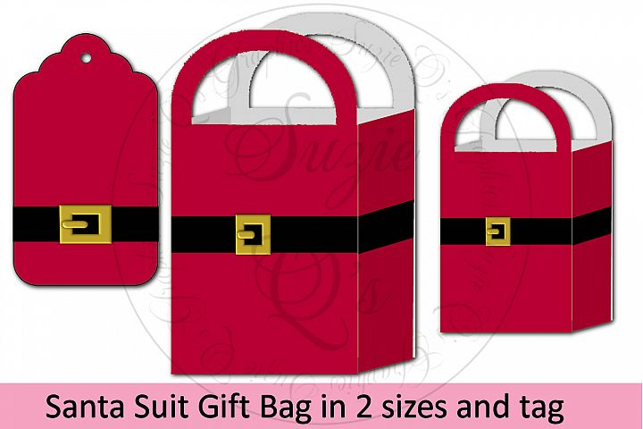 Santa Suit Gift Bag in two sizes with tag