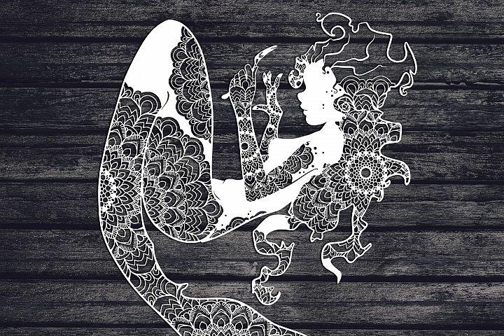 Mandala Mermaid Svg, Mermaid Svg, Mandala Svg, Zentangle Svg