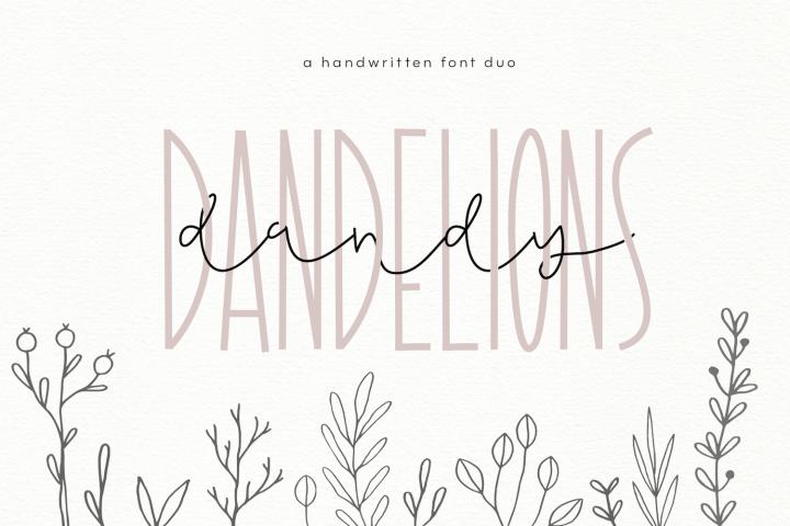 Dandy Dandelions - Handwritten Script & Print Font Duo