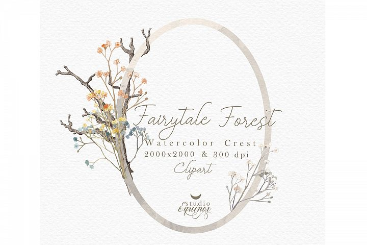 Fairy Tale Forest - Rustic Watercolor Floral Frames, Clipart