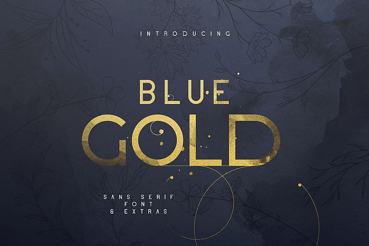 Blue Gold sans serif font Extras