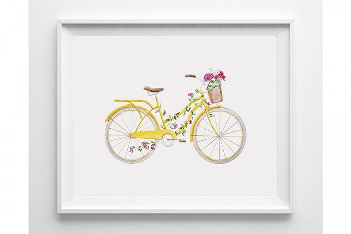 Bicycle Wall Art Yellow Bike Print Yellow Bicycle Bike Art