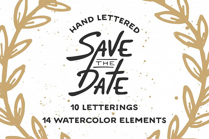 Save the Date lettering & watercolor