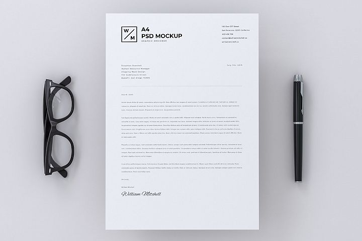 Minimal A4 Paper With Pen and Glasses Mockup