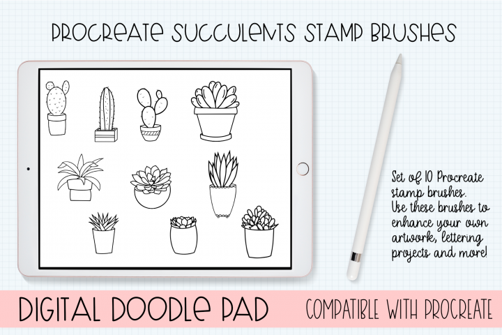 Procreate Stamp Brushes - Set of 10 Succulents Brushes