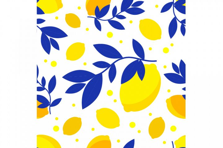 Seamless pattern with decorative lemons.