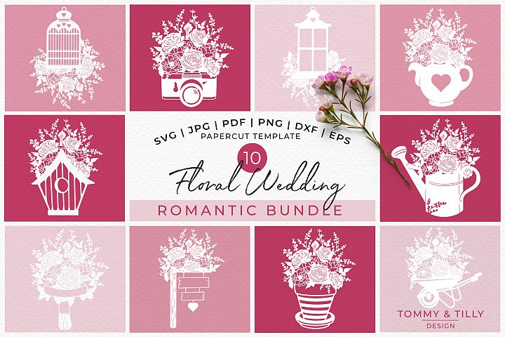Romantic Floral Wedding Bundle - Papercut SVG DXF PNG JPG PD