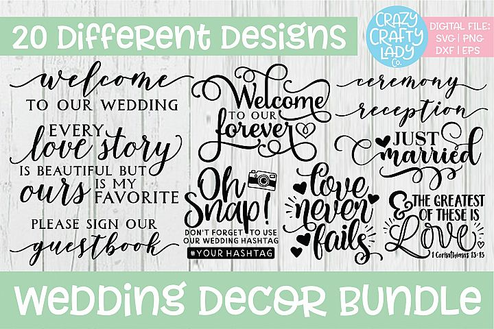 Wedding Decor SVG DXF EPS PNG Cut File Bundle