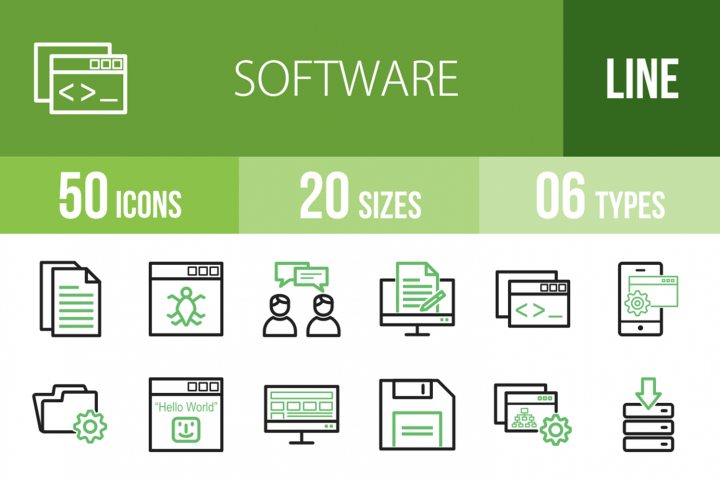 50 Software Development Line Green & Black Icons