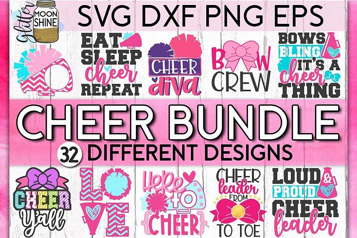 Cheerleading Bundle of 32 SVG DXF PNG EPS Cutting Files