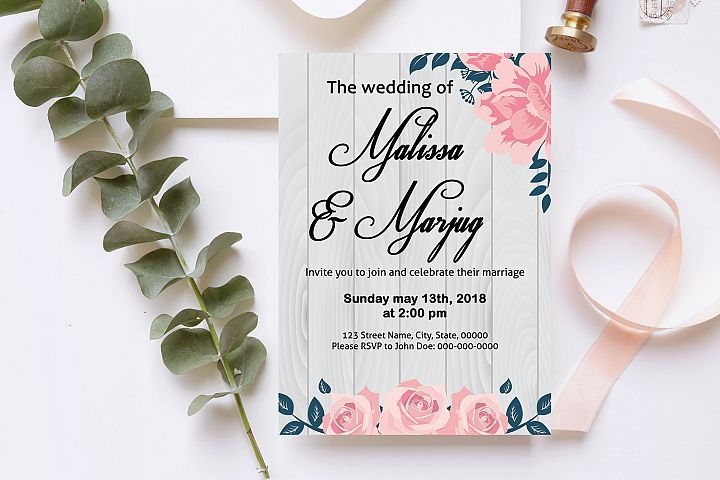 Wooden Wedding Invitation Template