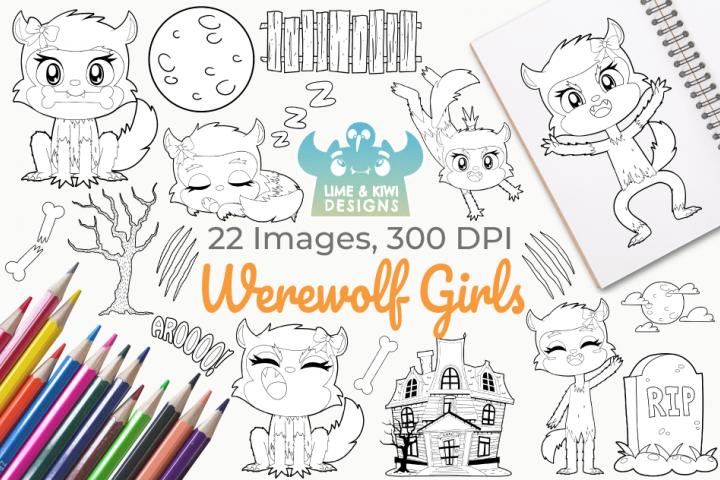 Werewolf Girls Digital Stamps