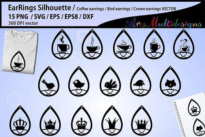 earring svg silhouette / Teardrop Earrings svg Template