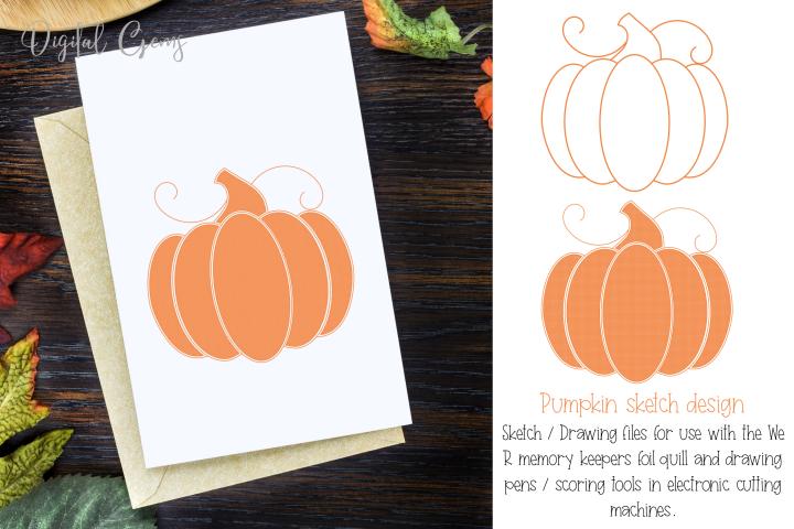 Pumpkin, single line sketch file / foil quill file.