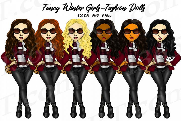 Fancy Winter Fashion Fashion Girls Clipart Planner Set