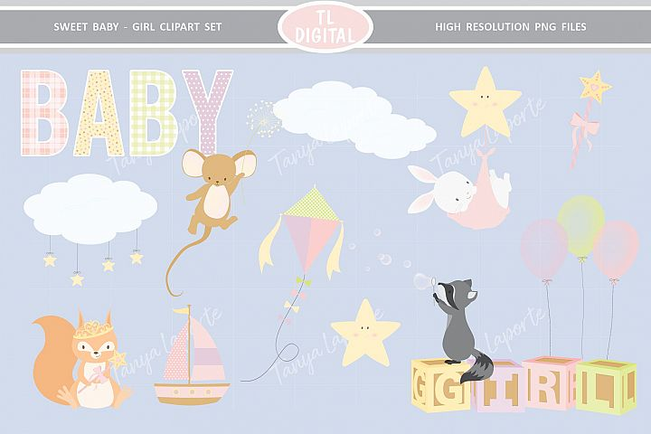 Sweet Baby Girl Clipart Set - 26 Baby themed Graphics