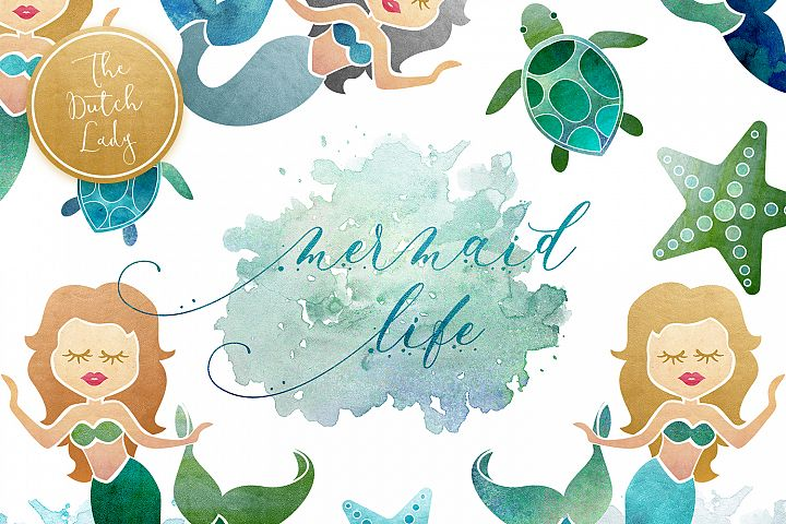 Mermaid & Sealife Clipart Set
