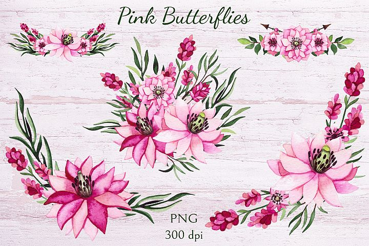 Pink Butterflies example 2