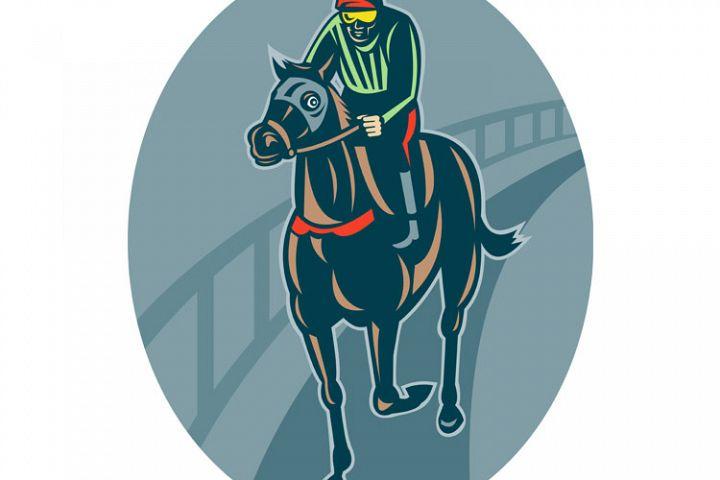 Horse and jockey racing race track