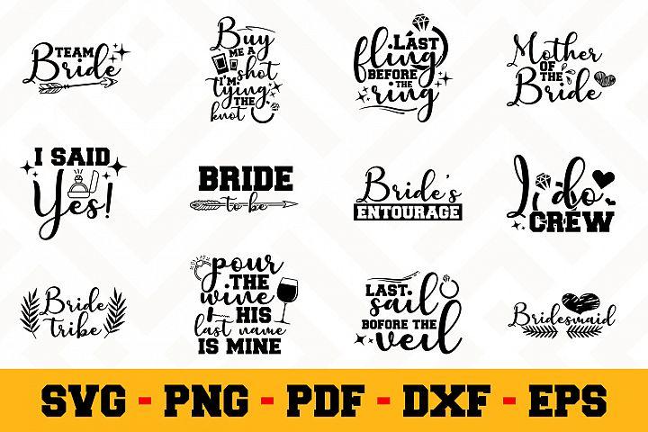 Bride 12 Designs Pack | Wedding SVG Bundle
