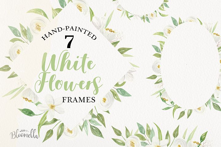 White & Green 7 Frames Foliage Wedding Floral Flowers