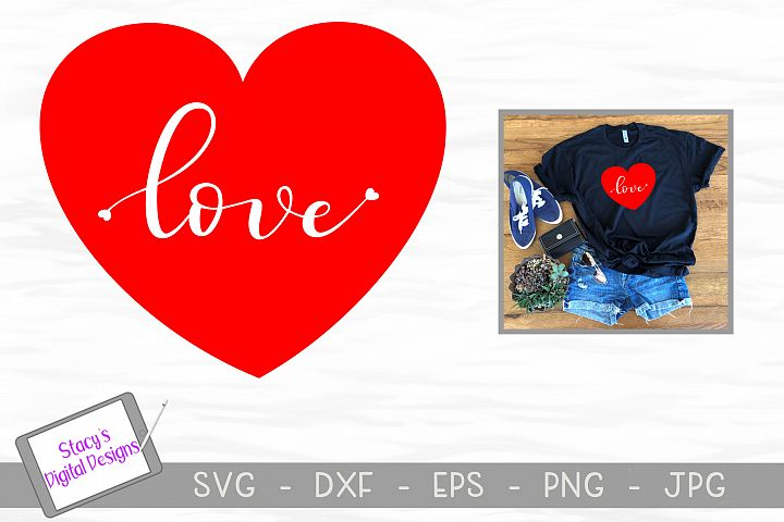 Heart SVG - Handlettered love with tiny hearts cut file