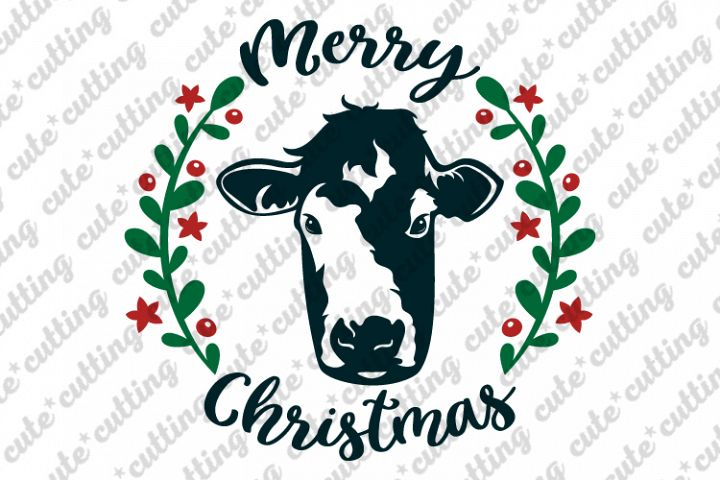 Christmas cow, Cow face, Merry christmas svg, dxf, png, jpeg