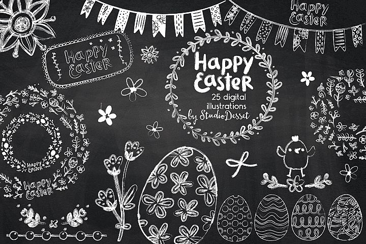 Happy Easter Chalkboard Cliparts
