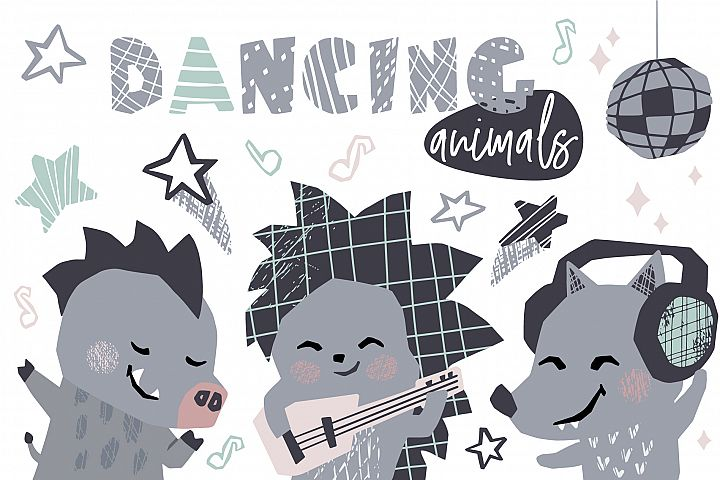 Dancing animals. Music kids vector