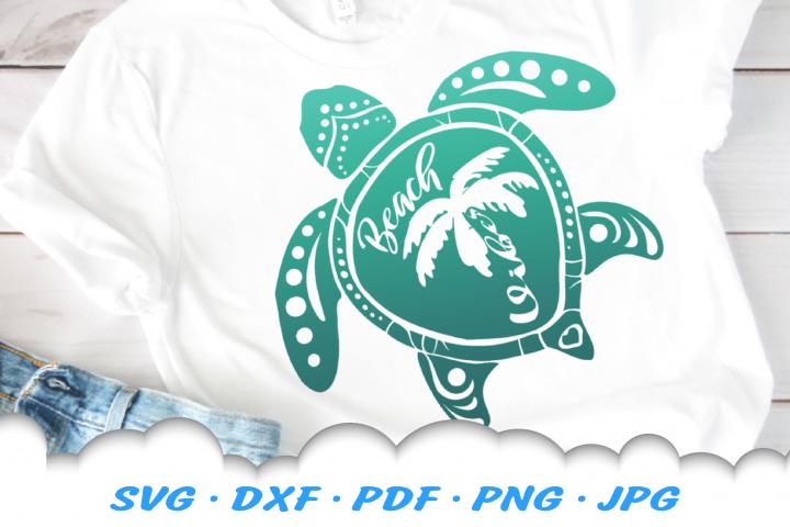 Beach Vibes Sea Turtle SVG DXF Cut Files